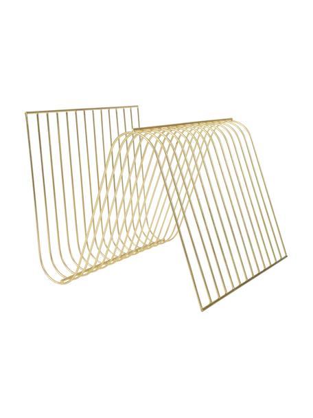 Stojak na czasopisma Sensual, Metal powlekany, Odcienie złotego, S 30 x W 26 cm
