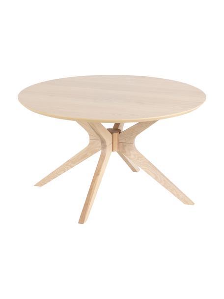 Tavolino da salotto rotondo in quercia Duncan, Piano d'appoggio: impiallacciato rovere, Gambe: legno di quercia massicci, Legno di quercia, Ø 80 x Alt. 45 cm