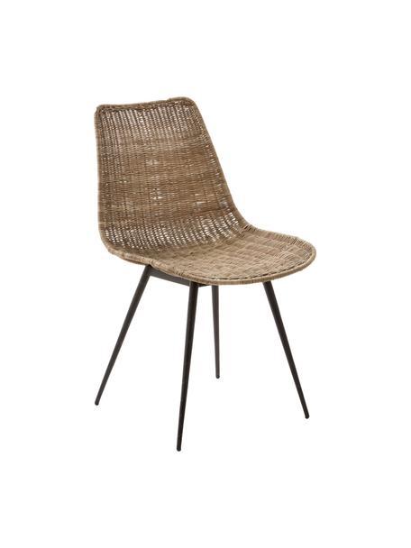 Rattanstuhl Equal mit Metallbeinen, Sitzschale: Rattan, Beine: Stahl, Braun, Schwarz, B 48 x T 58 cm