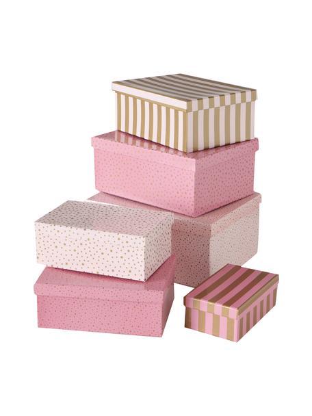 Geschenkbox-Set Marit, 6-tlg., Papier, Rosatöne, Goldfarben, Set mit verschiedenen Grössen