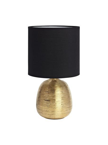 Keramik-Tischlampe Oscar in Schwarz-Gold, Lampenfuß: Keramik, Schwarz, Goldfarben, Ø 20 x H 39 cm