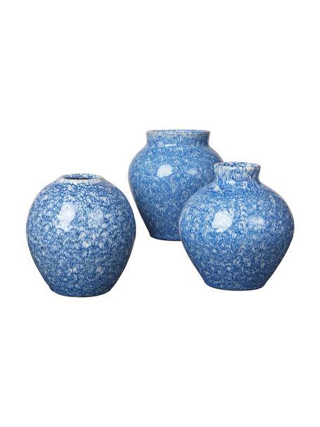 Komplet wazonów z ceramiki Ingrid, 3 elem., Ceramika, Odcienie niebieskiego, Ø 14 x W 14 cm