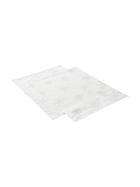 Manteles individuales Snow, 2uds., 100%algodón de cultivos sostenible de algodón, Blanco crema, gris claro, An 35 x L 45 cm
