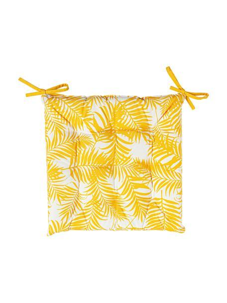 Outdoor stoelkussen Gomera  met bladpatroon, 100% polyester, Geel, 40 x 40 cm