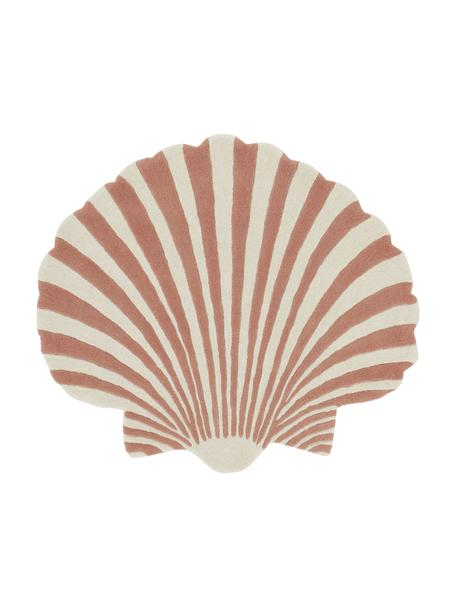 Handgetufteter Wollteppich Schellie, 100% Wolle, Ziegelrosa, Weiß, B 105 x L 120 cm (Größe S)