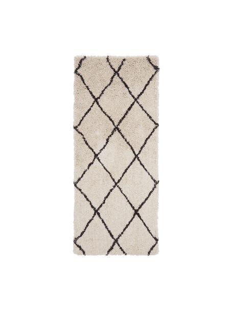 Alfombra artesanal de pelo largo Naima, Parte superior: 100%poliéster, Reverso: 100%algodón, Beige, negro, An 80 x L 200 cm