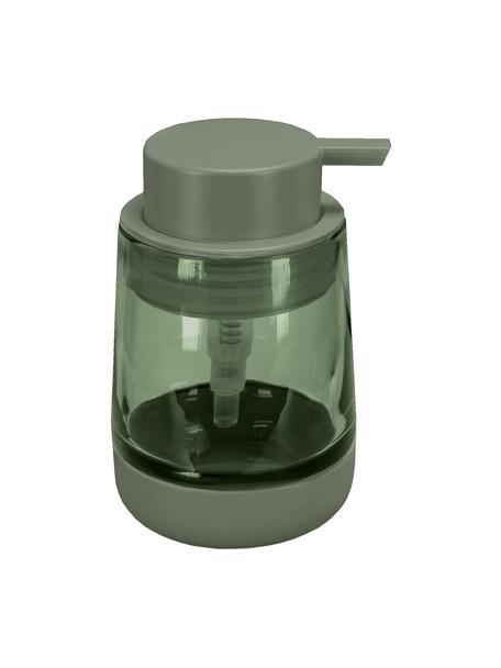 Seifenspender Belly aus Glas, Becher: Glas, Pumpkopf: Kunststoff, Grün, Ø 9 x H 13 cm