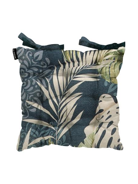 Sitzkissen Reva mit tropischem Print, Bezug: 50% Baumwolle, 45% Polyes, Blau, Beige- und Grüntöne, 45 x 45 cm