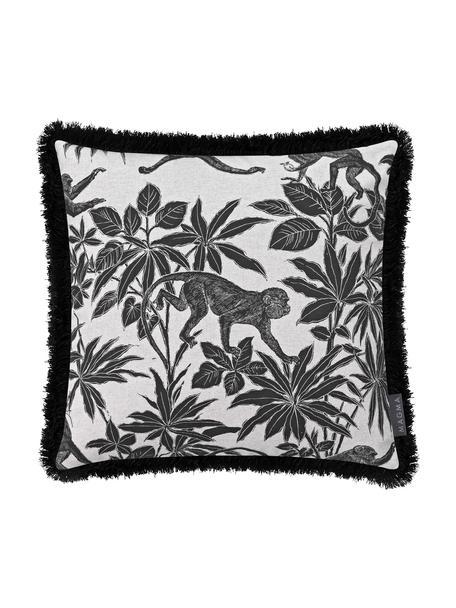 Kissenhülle Monkey mit tropischem Aufdruck und Fransenabschluss, 90%Baumwolle, 10%Polyester, Schwarz, gebrochenes Weiß, 40 x 40 cm