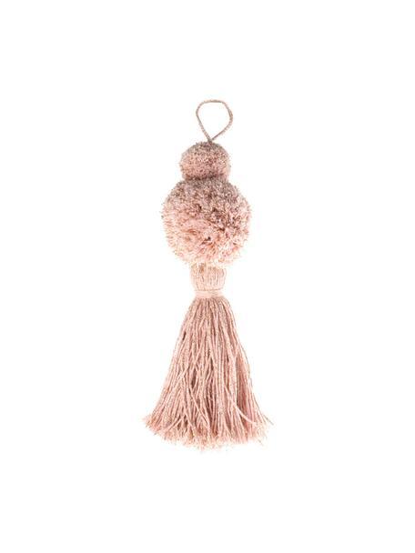 Baumanhänger Pompon, 2 Stück, Baumwolle mit Lurexfaden, Rosa, Goldfarben, Ø 8 x H 37 cm