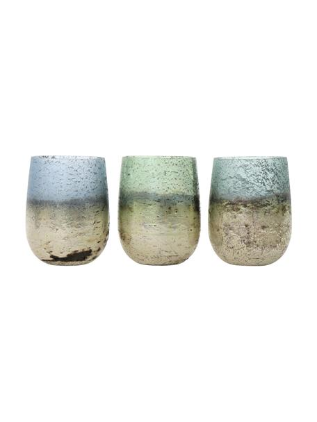 Set de portavelas Jupiter, 3pzas., Vidrio, Tonos beige, azul, Ø 7 x Al 10 cm