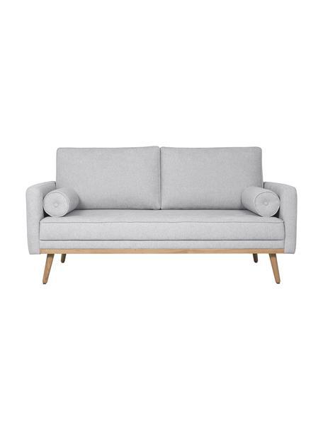 Sofa z nogami z drewna dębowego Saint (2-osobowa), Tapicerka: poliester Dzięki tkaninie, Jasny szary, S 169 x G 93 cm