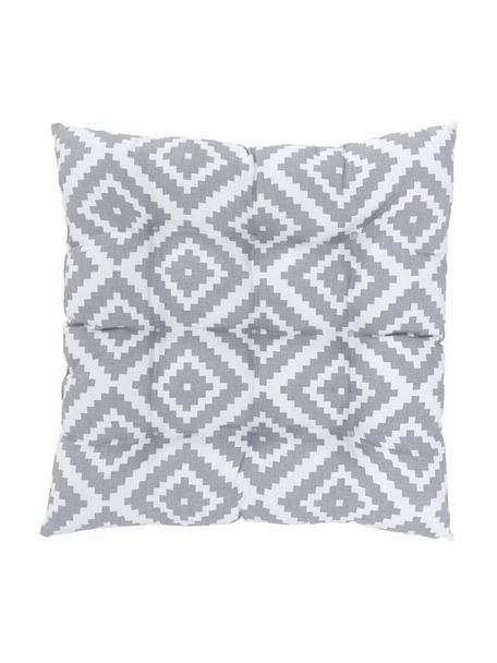 Sitzkissen Miami in Hellgrau, Weiß, Bezug: 100% Baumwolle, Grau, 40 x 40 cm