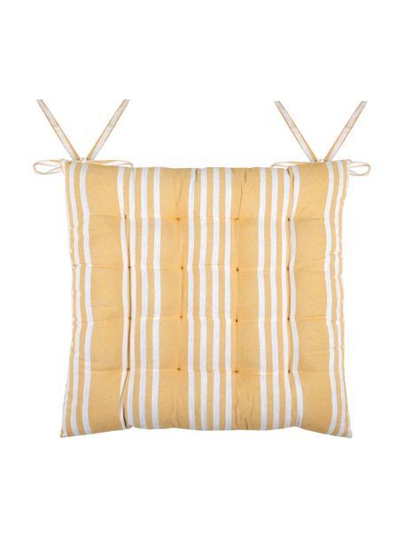 Nakładka na siedzisko Mandelieu, Mieszanka bawełny, Żółty, biały, S 40 x D 40 cm
