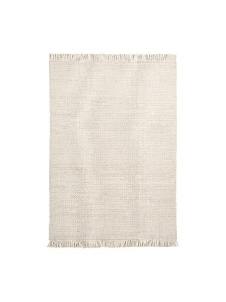 Handgewebter Wollteppich Eskil in Creme mit Fransenabschluss, Flor: 60% Wolle, 40% Viskose, Creme, B 80 x L 150 cm (Größe XS)