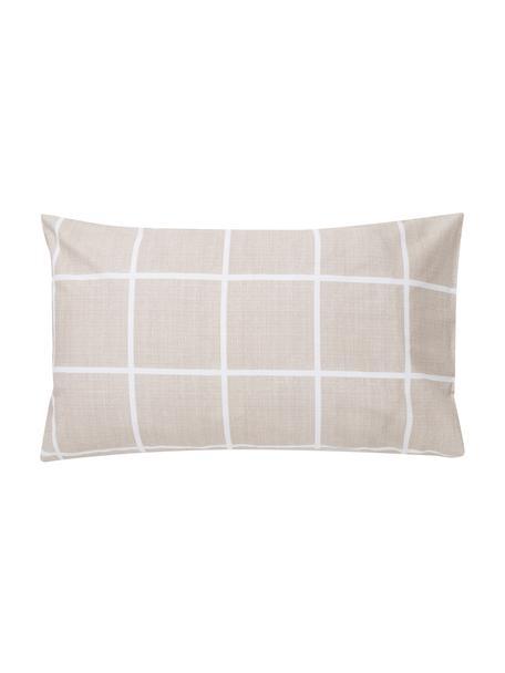 Fundas de almohada Gael, 2uds., Algodón El algodón da una sensación agradable y suave en la piel, absorbe bien la humedad y es adecuado para personas alérgicas, Gris pardo, blanco, An 50 x L 80 cm