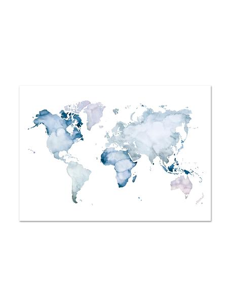 Poster World Map, Digitaldruck auf Papier, 200 g/m², Blau, Weiß, 30 x 21 cm