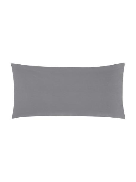 Poszewka na poduszkę z perkalu bawełnianego Elsie, 2 szt., Ciemny szary, S 40 x D 80 cm