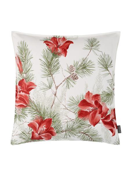 Poszewka na poduszkę Amara, Bawełna, Biały, czerwony, zielony, S 50 x D 50 cm