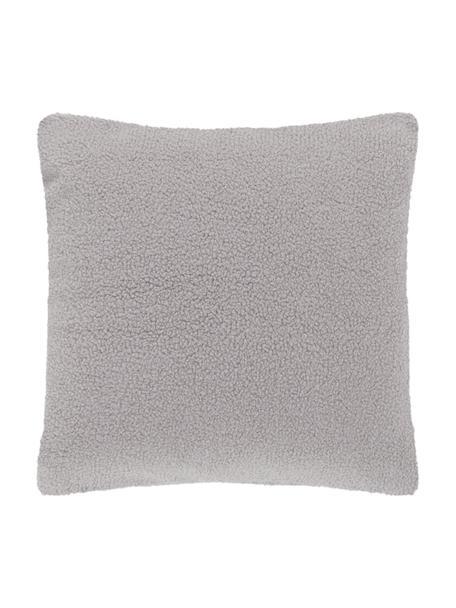 Federa arredo in teddy grigio chiaro Mille, Retro: 100% poliestere (teddy), Grigio chiaro, Larg. 45 x Lung. 45 cm