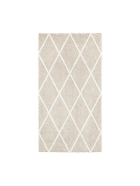 Tappeto con motivo a rombi Lunel, Retro: juta, Beige, color crema, Larg. 80 x Lung. 150 cm (taglia XS)