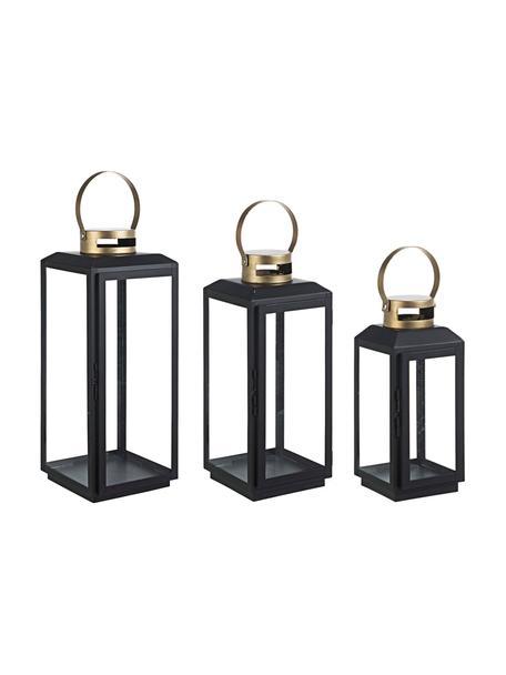 Laternen-Set Crissie, 3-tlg., Gestell: Metall, beschichtet, Griff: Metall, beschichtet, Transparent, Schwarz, Goldfarben, Set mit verschiedenen Grössen