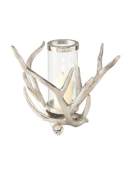 Windlicht Antlers, Windlicht: aluminium, Transparant, aluminiumkleurig, 33 x 25 cm