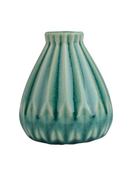 Kleine Vase Blomster aus Steingut, Steingut, Türkis, Ø 9 x H 10 cm