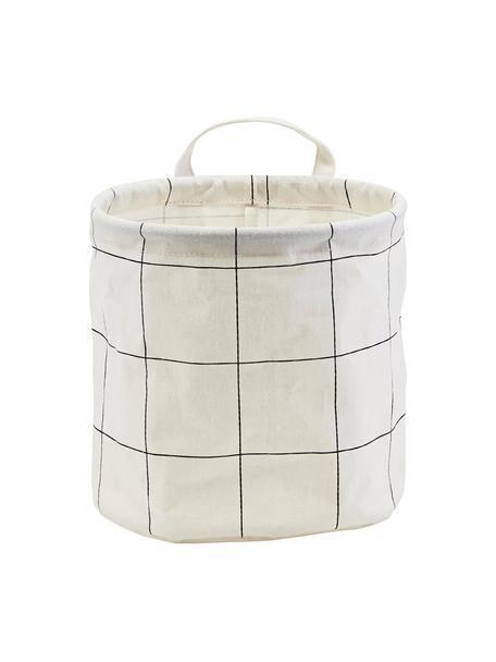 Aufbewahrungskorb Squares, 38%Baumwolle, 40%Polyester, 22%Rayon, Weiß, Schwarz, Ø 20 x H 20 cm