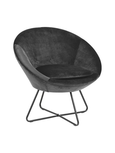 Fluwelen fauteuil Center in grijs, Bekleding: polyester fluweel 25.000 , Frame: gepoedercoat metaal, Donkergrijs, zwart, 82 x 71 cm