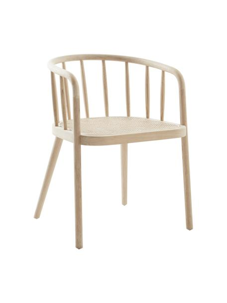 Sedia in legno con intreccio viennese Stocksund, Struttura: legno di quercia laccato, Seduta: rattan, Beige, Larg. 56 x Prof. 54 cm