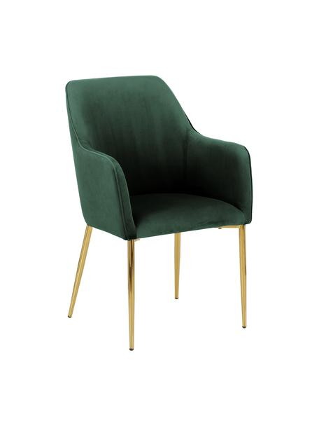 Sedia con braccioli in velluto verde scuro  Ava, Rivestimento: velluto (poliestere) 50.0, Gambe: metallo zincato, Velluto verde scuro, gambe oro, Larg. 57 x Prof. 63 cm