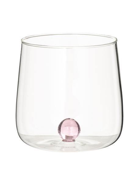 Mundgeblasene Design-Wassergläser Bilia, 6er-Set, Borosilikatglas, Transparent, Rosa, Ø 9 x H 9 cm