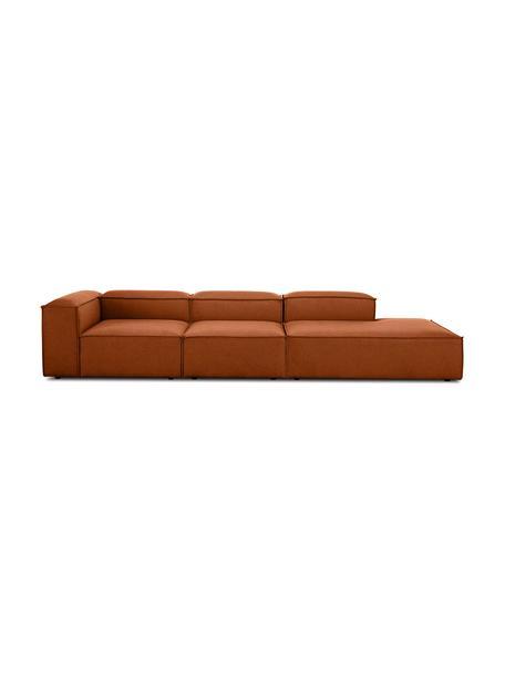 Modulaire XL chaise longue Lennon, Bekleding: polyester, Frame: massief grenenhout, multi, Poten: kunststof, Terracottarood, B 357 x D 119 cm
