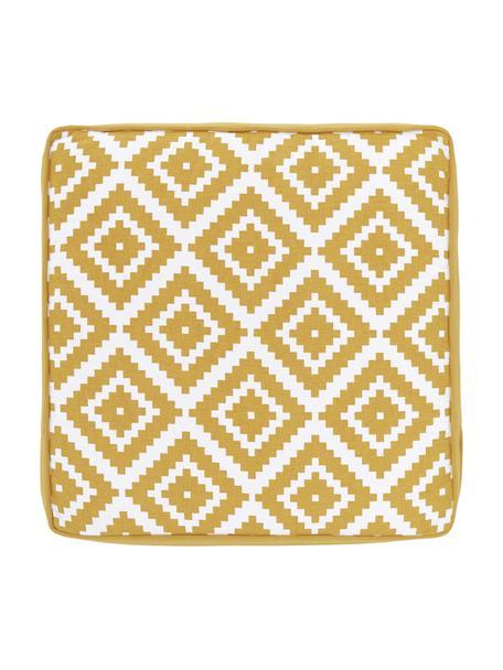 Hohes Sitzkissen Miami in Gelb/Weiss, Bezug: 100% Baumwolle, Gelb, 40 x 40 cm