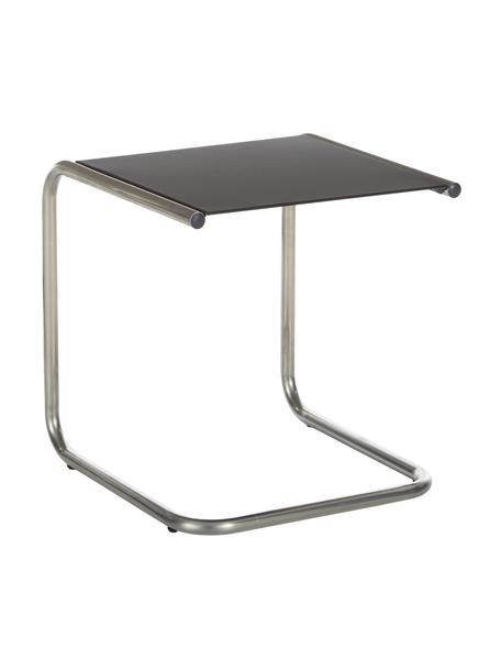 Mesa auxiliar para exterior de metal Club, Tablero: metal con pintura en polv, Estructura: aluminio pulido, Plateado, negro, An 40 x F 40 cm