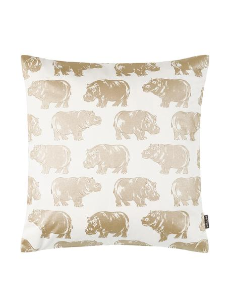 Kissenhülle Hippo mit Tierdruck in Gold/Creme, Baumwolle, Weiß, Goldfarben, 40 x 40 cm