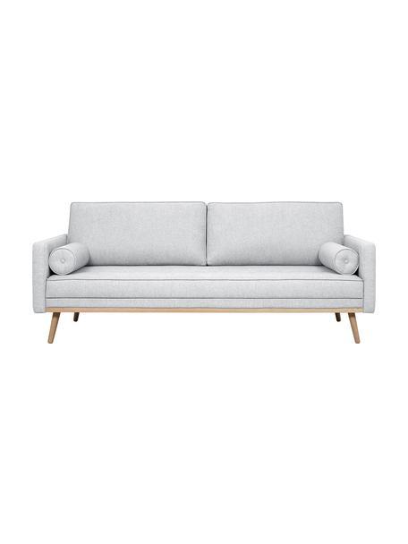 Sofa Saint (3-Sitzer) in Hellgrau mit Eichenholz-Füssen, Bezug: Polyester Der hochwertige, Gestell: Massives Kiefernholz, Spa, Webstoff Hellgrau, 210 x 70 cm