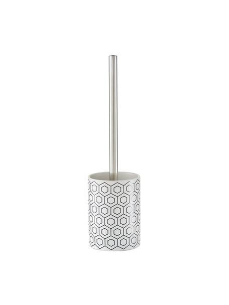 Toilettenbürste Graphic mit Keramik-Behälter, Gefäß: Keramik, Griff: Metall, Schwarz, Weiß, Ø 10 x H 35 cm