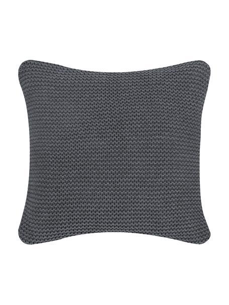 Federa arredo fatta a maglia grigio scuro Adalyn, 100% cotone, Grigio scuro, Larg. 40 x Lung. 40 cm