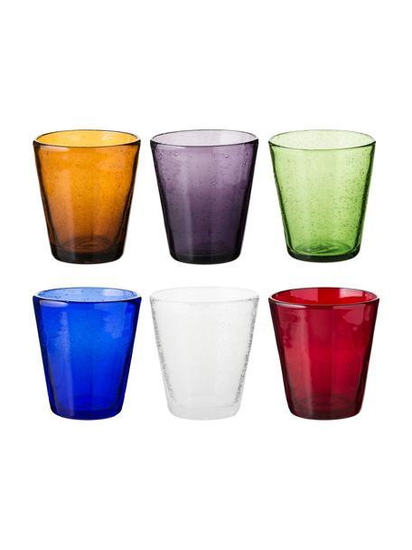 Set 6 bicchieri acqua colorati in vetro soffiato Cancun, Vetro soffiato, Multicolore, Ø 9 x Alt. 10 cm