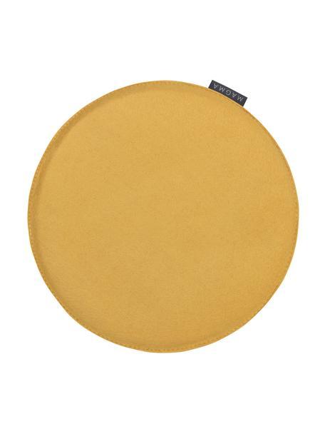 Runde Filz-Sitzauflagen Avaro, 4 Stück, Ockergelb, Ø 35 x H 1 cm