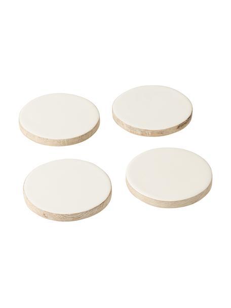 Posavasos de madera de mango Lugo, 4uds., Madera de mango recubierta, Blanco, madera, Ø 10 x Al 2 cm