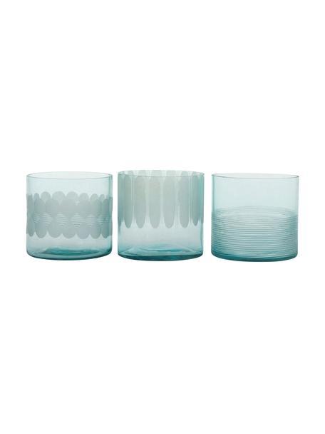 Waxinelichthoudersset Cosmopol, 3-delig, Glas, Blauw, Ø 8 x H 8 cm