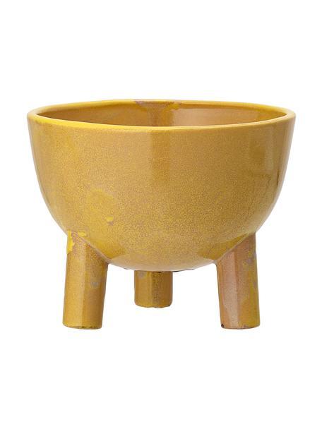 Mała ręcznie wykonana osłonka na doniczkę z kamionki Aaren, Kamionka, Żółty, Ø 15 x W 12 cm