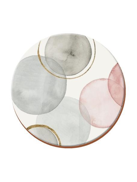 Sottobicchiere Gilded Spheres 4 pz, Sughero, Bianco, grigio, rosa, Ø 12 cm