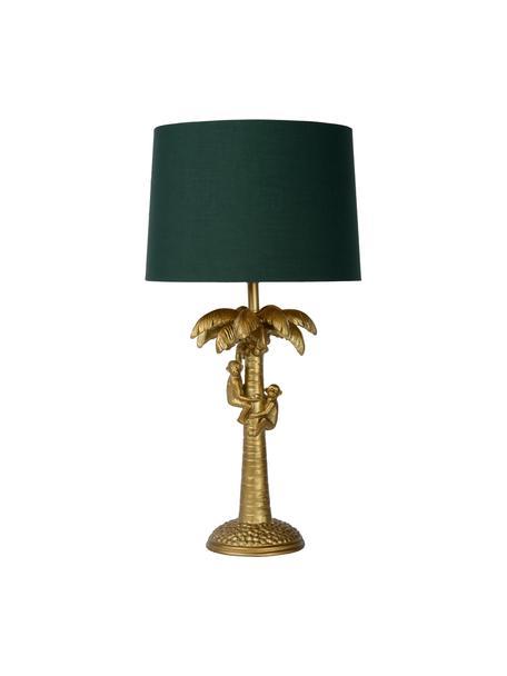 Boho-Tischlampe Coconut in Grün-Gold, Lampenschirm: Baumwolle, Lampenfuß: Kunststoff, Messingfarben, Grün, Ø 31 x H 58 cm