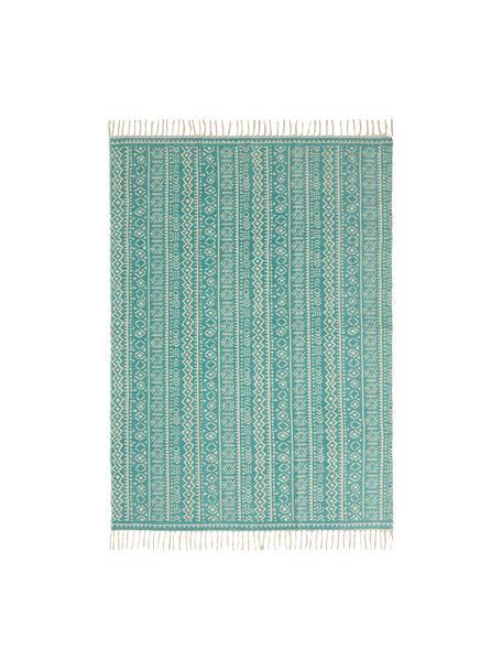 Teppich Afra mit grafischem Muster in Türkis-Weiss, 100% Baumwolle, Türkis, Gebrochenes Weiss, B 150 x L 200 cm (Grösse S)