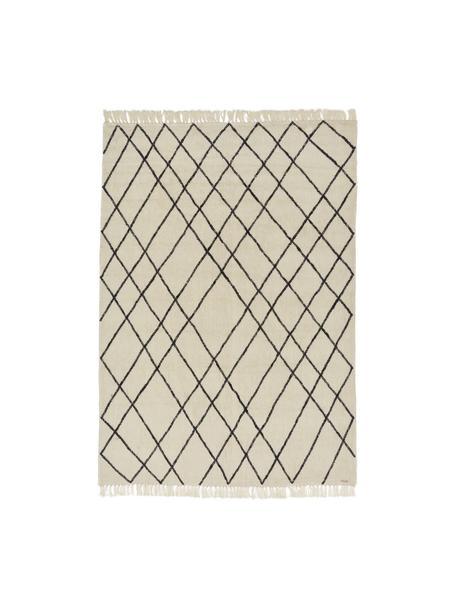 Tappeto in lana con motivo a rombi Graphic Nature, Crema, decoro nero irregolare, Larg. 200 x Lung. 300 cm (taglia L)