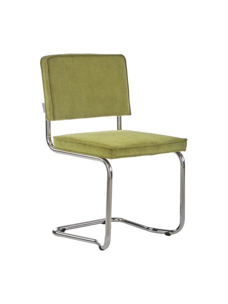 Silla cantilever de pana Kink, Tapizado: pana (88%nylon, 12%poli, Estructura: metal cromado, Verde, An 48 x Al 85 cm